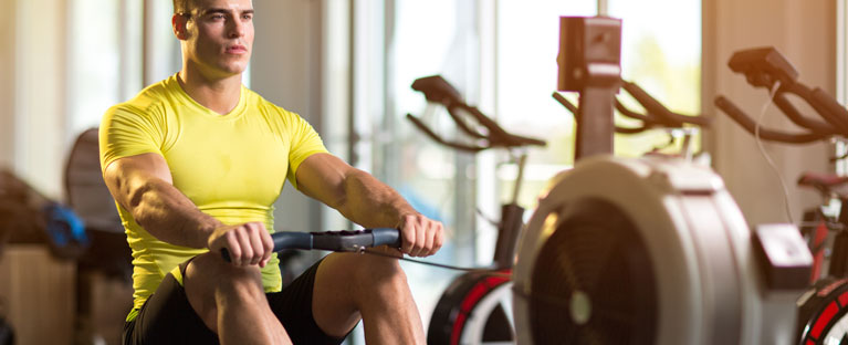 Rowing machine for warm-up